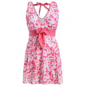 Sweet V-Neck Floral Print Bowknot Embellished Swimsuit For Women - Pink - 5xl