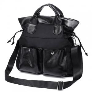 Casual Double Pocket and Black Color Design Tote Bag For Women -
