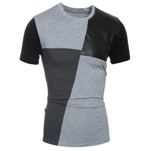 Laconic Round Neck Color Block PU-Leather Spliced Short Sleeve T-Shirt For Men - Gray - Xl