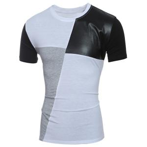 Laconic Round Neck Color Block PU-Leather Spliced Short Sleeve T-Shirt For Men