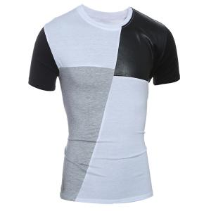 Laconic Round Neck Color Block PU-Leather Spliced Short Sleeve T-Shirt For Men -
