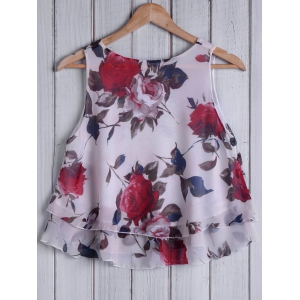 Fashionable Round Collar Sleeveless Floral Print Chiffon Women's Tank Top -