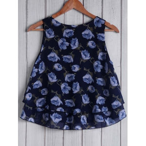 Trendy Round Collar Sleeveless Loose-Fitting Floral Print Women's Tank Top -