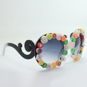 Chic Various Fruit Shape Embellished Black and White Sunglasses For Women -