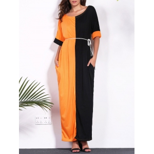 Contrast Insert Maxi T-shirt Dress with Pockets - Black And Orange - Xl