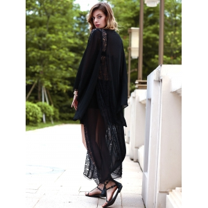 Stylish Flare Sleeve Collarless Women's Long Chiffon Blouse - BLACK S
