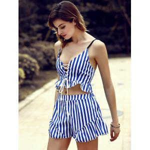 Trendy Low-Cut Lace-Up Tank Top and Striped Shorts Twinset For Women -