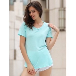 Hollow Out Tunic T-Shirt - AZURE L