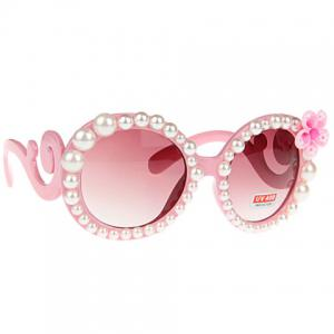 Chic Flower and Faux Pearl Embellished Hot Summer Pink Sunglasses For Women -