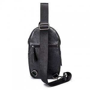 Leisure Black and PU Leather Design Messenger Bag For Men -