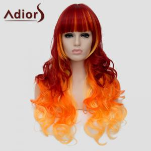 Gorgeous Full Bang Three Color Gradient Capless Fluffy Long Wave Synthetic Adiors Wig For Women -