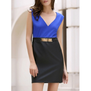 Elegant V-Neck Color Block Bodycon Sleeveless Dress For Women