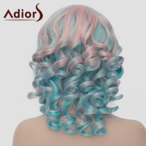 Stunning Pink Mixed Green Synthetic Fluffy Short Curly Side Bang Adiors Wig For Women -