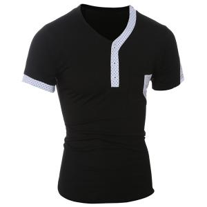 Color Block Dot Splicing Special V-Neck Short Sleeve T-Shirt For Men - BLACK M