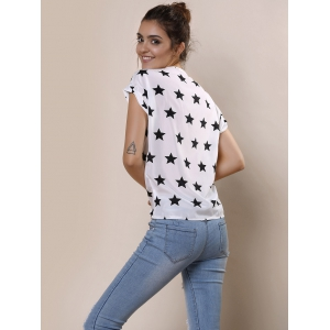 Stylish Short Sleeve Scoop Collar Star Print Chiffon Women's Blouse -