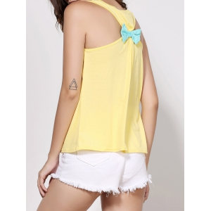Stylish Scoop Neck Sleeveless Printed Bowknot Embellished Women's Tank Top - YELLOW XL