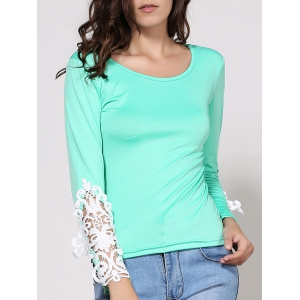 Stylish Scoop Neck Long Sleeve Lace Embellished T-Shirt For Women - Green - L