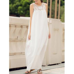 Lace Panel Summer Chiffon Long Swing Dress - White - Xl
