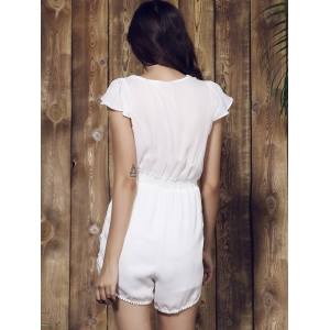Sexy Plunging Neck Solid Color Tassel Embellished Short Sleeve Romper For Women - WHITE M