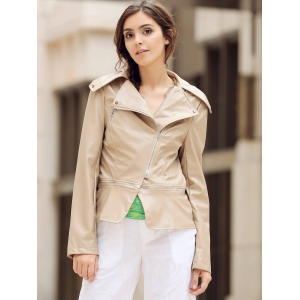 Fashionable Turn-Down Collar Zippered Long Sleeve PU Leather Jacket For Women - KHAKI M