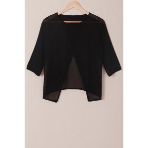 Round Neck 3/4 Sleeve Furcal Short Chiffon Blouse