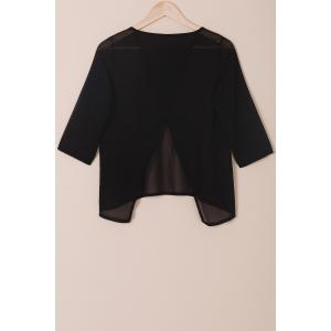 Stylish Round Neck 3/4 Sleeve Solid Color Furcal Women's Chiffon Blouse - BLACK S