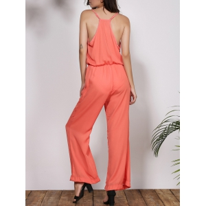 Stylish Spaghetti Strap Solid Color Women's Baggy Jumpsuit -