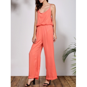 Stylish Spaghetti Strap Solid Color Women's Baggy Jumpsuit - ORANGE S