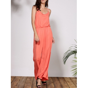 Stylish Spaghetti Strap Solid Color Women's Baggy Jumpsuit - Orange - S