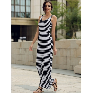 Maxi Stripe Backless Jersey Prom Dress - STRIPE S