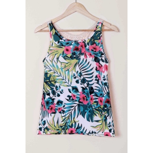 Sexy Scoop Neck Lace Splicing Floral Print Racerback Top For Women