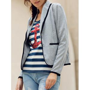 Elegant Shawl Collar Color Splicing Long Sleeve Blazer For Women