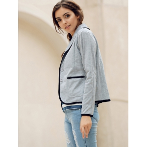 Elegant Shawl Collar Color Splicing Long Sleeve Blazer For Women - GRAY S