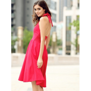 Vintage Halter Solid Color Backless Flare Dress For Women -