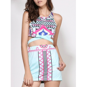 Crop Sleeveless Print Short Club Two Piece Dress