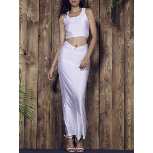 Racerback Crop Top and Long Skirt Set - WHITE L