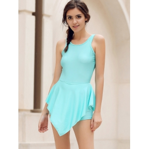 Alluring Round Neck Solid Color Hole Design Irregular Romper For Women - LAKE BLUE L