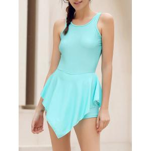 Alluring Round Neck Solid Color Hole Design Irregular Romper For Women