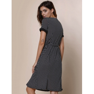 Vintage Scoop Neck Short Sleeve Polka Dot Women's Fishtail Mermaid Dress -