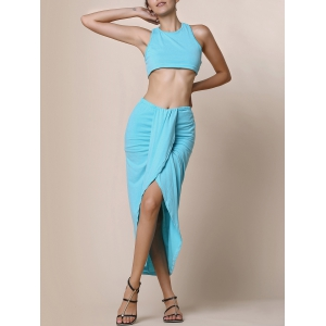Slit Crop Racerback Two Piece Club Dress - Lake Blue - Xl