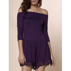 Sexy Slash Neck Solid Color 3/4 Sleeve Romper For Women