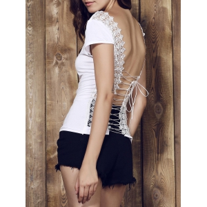 Sexy Scoop Neck Solid Color Backless Lace Spliced Strappy T-Shirt For Women -