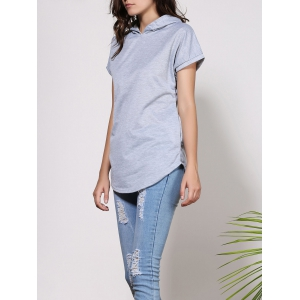 Stylish Short Sleeves Hooded Asymmetrical Solid Color Women's T-Shirt -