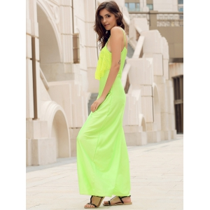 Long Slip Lace Trim Backless Floor Length Dress - NEON GREEN L