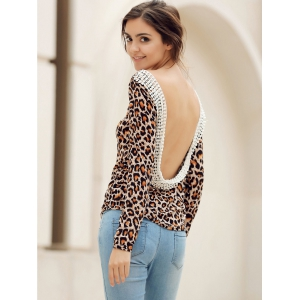 Stylish Round Neck Long Sleeve Leopard Print Backless Women's T-Shirt - LEOPARD S