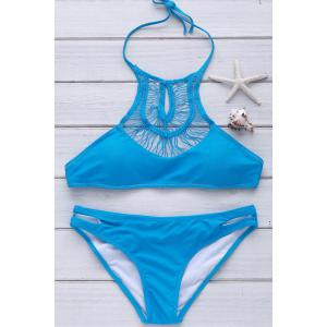 Sexy Halter Solid Color Hollow Out Bikini Set For Women