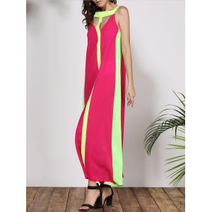 Stylish Round Collar Sleeveless Color Block Cut Out Women's Dress - ROSE S