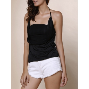 Solid Color Backless Draped Sleeveless Blouse - BLACK S