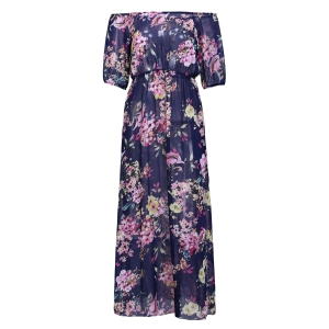 Maxi Floral Print See-Through Dress - Purplish Blue - M