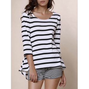 Simple Style Scoop Neck Striped 3/4 Sleeve Blouse For Women - White And Black - Xl